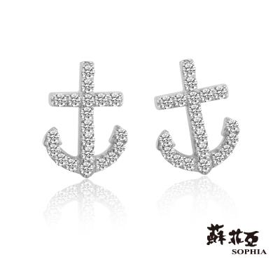 蘇菲亞SOPHIA - 船錨造型0.14克拉鑽石耳環(共2色)