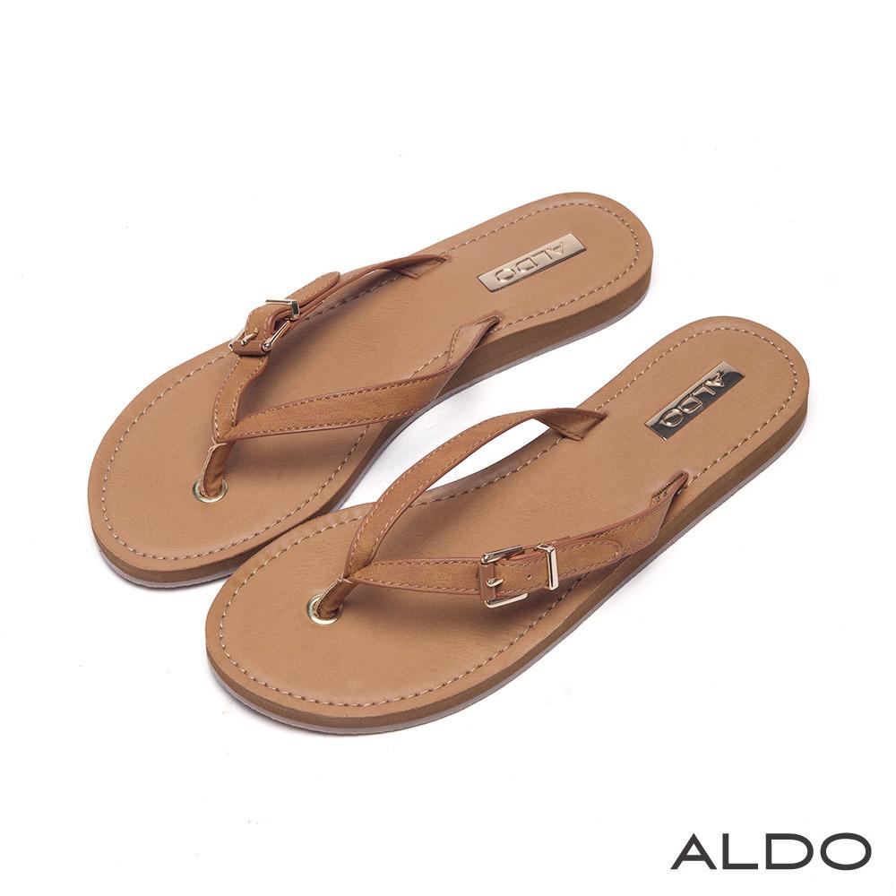 ALDO 海島假期幾何金屬腰帶人字型夾腳涼鞋~率性焦糖