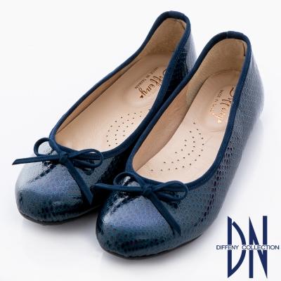 DN 優雅通勤 MIT特殊壓紋舒適娃娃鞋 藍