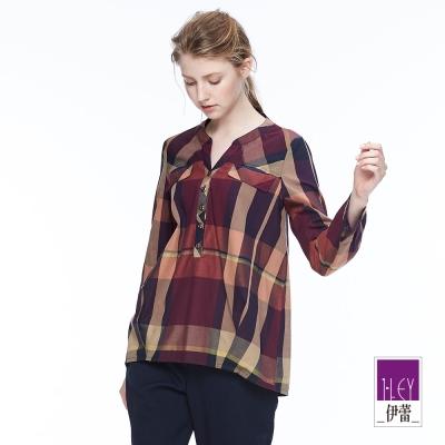 ILEY伊蕾 簡約格紋印花上衣魅力價商品(紫)