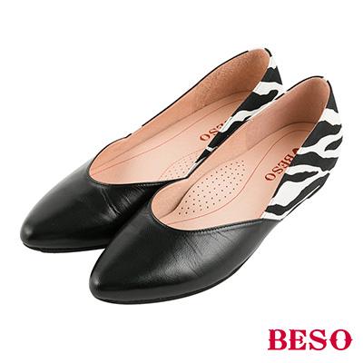 BESO 永恆優雅 動物紋拼接內增高尖頭平底鞋~黑