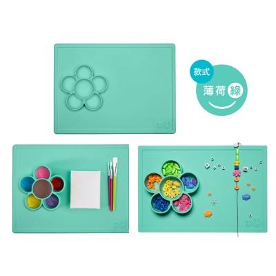 美國EZPZ矽膠幼兒餐具 小花遊戲盤薄荷綠