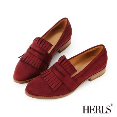 HERLS 內真皮 英倫品味麂皮絨流蘇樂福鞋-酒紅色