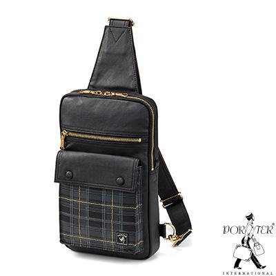 PORTER - 紳士品格CHECKER CHIC型格單肩包 - 黑
