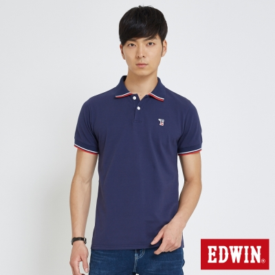 EDWIN 復古小E字POLO衫-男-藍色