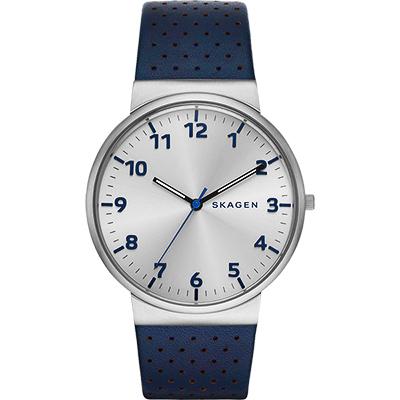 SKAGEN 都會時尚大三針石英腕錶-銀x藍/40mm