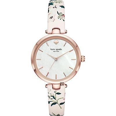 Kate Spade NEW YORK 花卉女人時尚套錶-珍珠貝x34mm