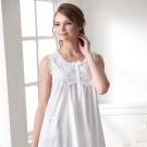 羅絲美睡衣 - 純真年代無袖洋裝睡衣(純白色)