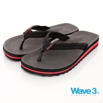 【WAVE3男款】獨家織帶設計素色人字拖-黑紅(17101001)