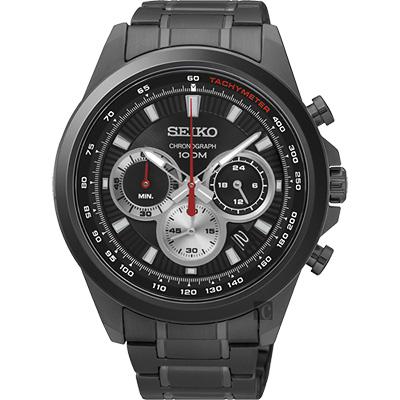 SEIKO精工 CS 破風競速計時腕錶(SSB253P1)-黑x鐵灰/45mm