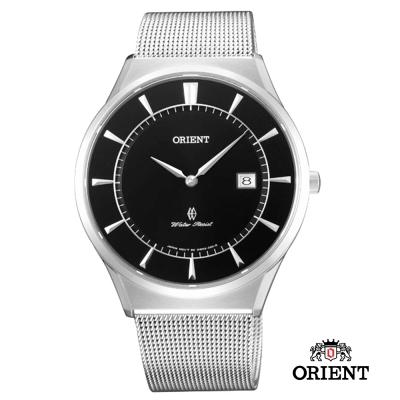ORIENT 東方錶 SLIM系列 超薄時尚簡約藍寶石鏡面石英錶-黑色/41mm