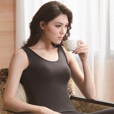 華歌爾-EKS美肌發熱衣M-LL圓領背心款發熱衣(神秘黑)