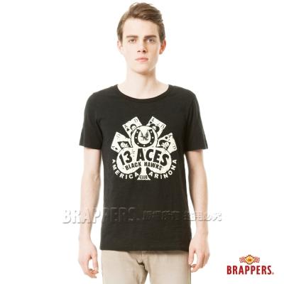 BRAPPERS 男款 撲克牌印花短袖T恤-黑