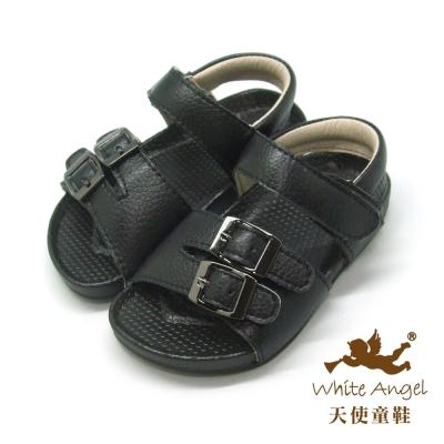 天使童鞋-F5034 悠閒扣鐶涼鞋 (小童)-簡約黑