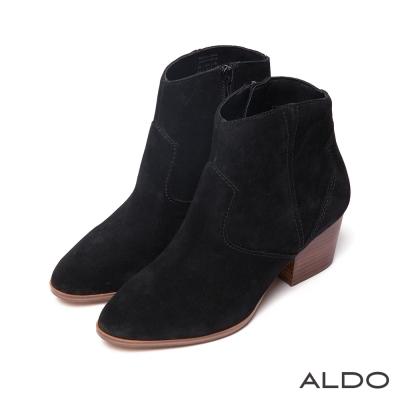 ALDO-原色真皮幾何壓紋車線木紋粗跟短靴-麂皮黑