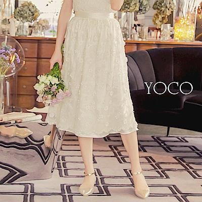東京著衣-yoco 純淨花語滿版網紗花朵刺繡長裙-S.M.L(共一色)