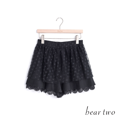 beartwo 層次感圓點網紗褲裙(黑色)