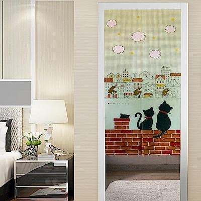 日創優品 日本門簾-紅磚上的貓咪情侶