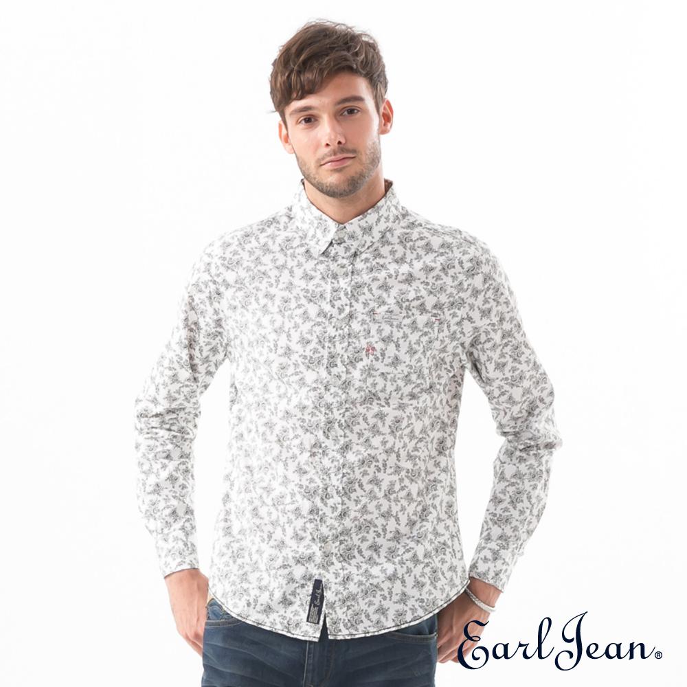 Earl Jean黑白滿版碎花襯衫-男