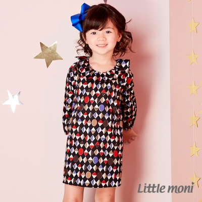Little moni 幾何印花荷葉領洋裝 (共2色)