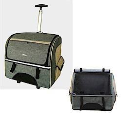 摩達客 雙肩大背包式寵物拉桿箱(灰色/拉背提三用/可拆卸拉桿拖板)