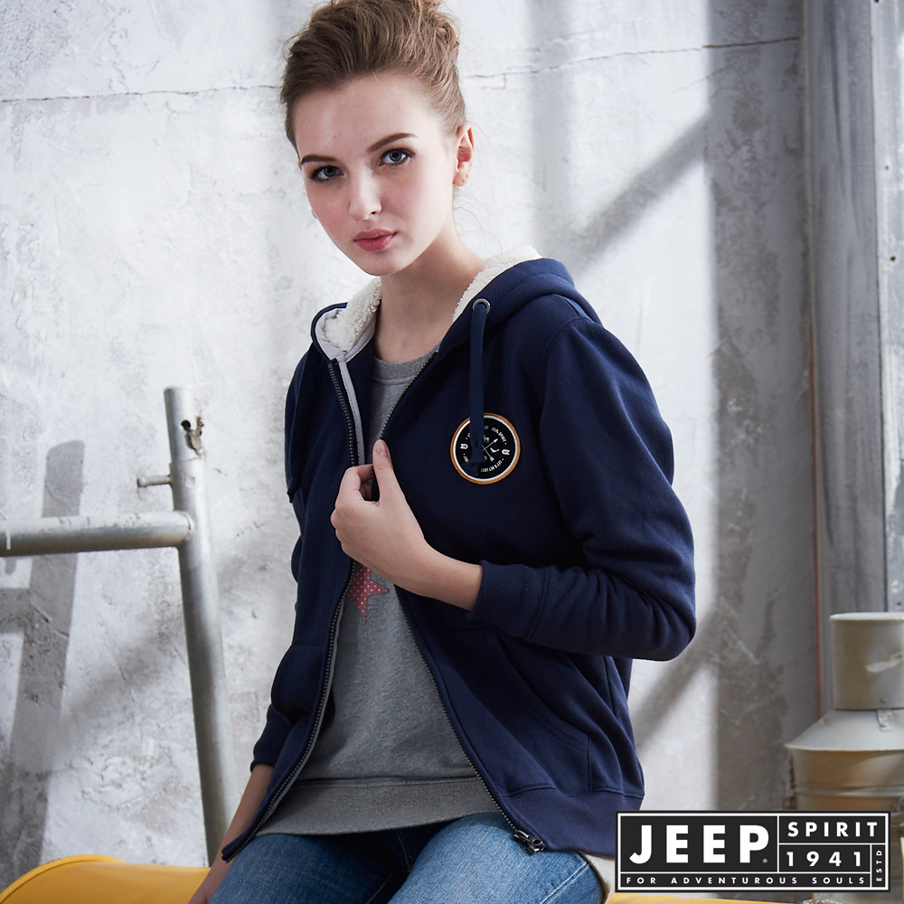 JEEP 女裝 簡約北極熊圖騰刷毛造型外套-藍