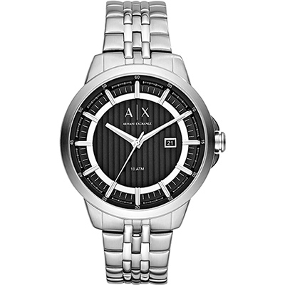 A│X Armani Exchange 城市品味時尚腕錶-黑x銀/44mm