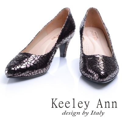 Keeley Ann 爆裂質感~三角幾何金屬亮澤OL全真皮中跟鞋(槍色)