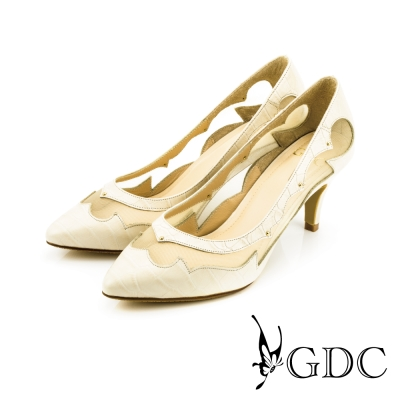 GDC-真皮格紋鉚釘透膚高跟鞋-米杏色