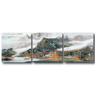橙品油畫布- 三聯無框圖畫藝術家飾品 - 秋山紅葉40*40cm