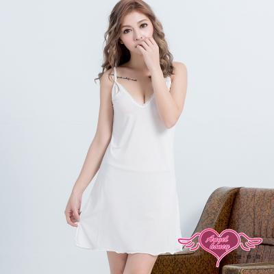 性感睡衣 平淡清新 素色氣質連身性感睡衣(白F) AngelHoney天使霓裳