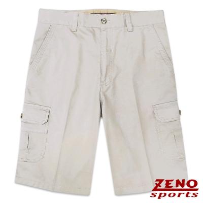 ZENO 水洗極簡純色休閒短褲‧淡卡其30~42