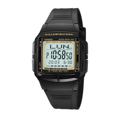CASIO 黑炫風城市電子錶(DB-36-9A)-黃框
