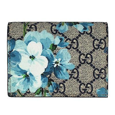 GUCCI BLOOMS 藍色花朵圖騰紅色邊帆布名片夾