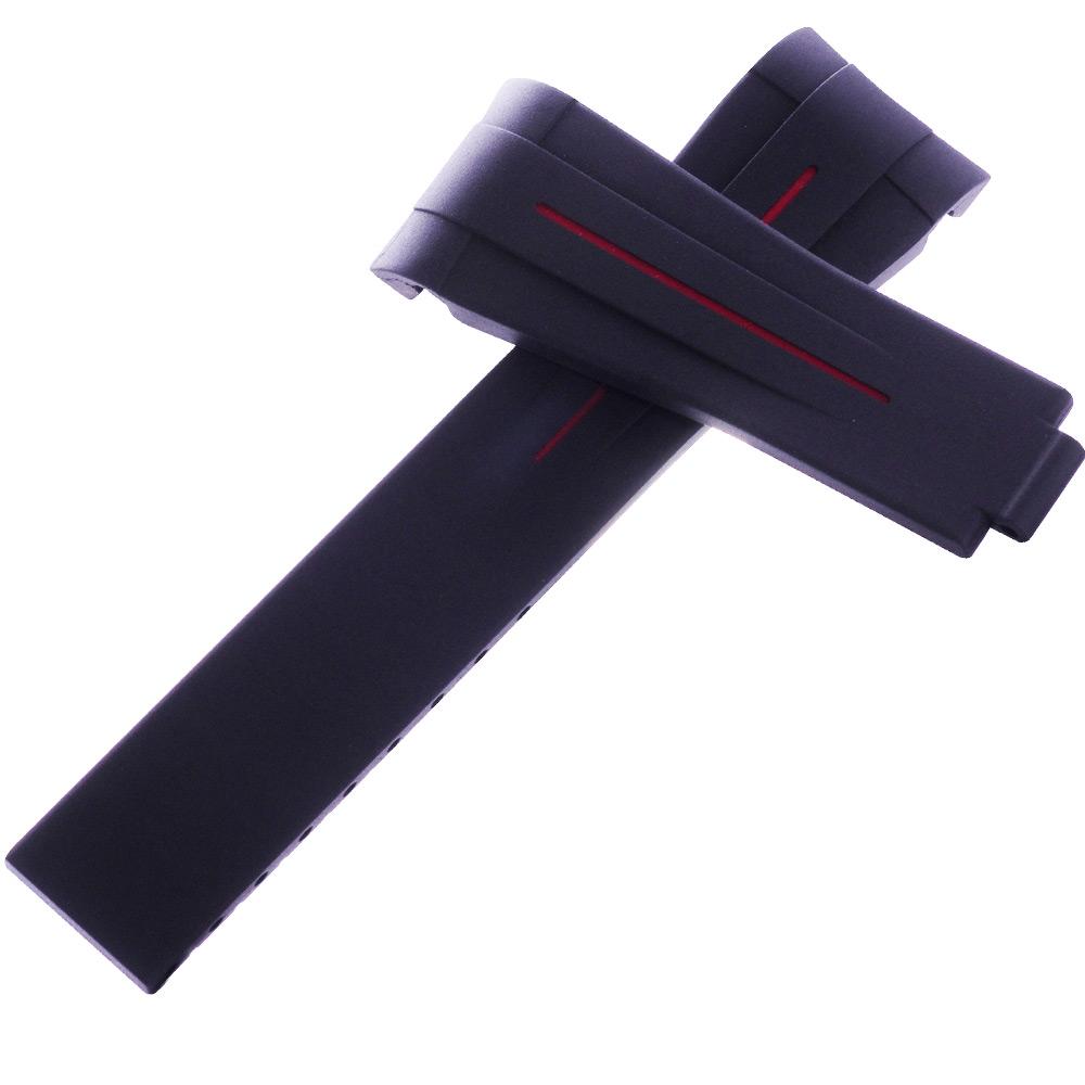 瑞士頂級Rubber B橡膠帶套組-勞力士116610黑水鬼專用-20*18黑中紅線