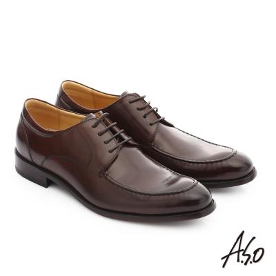 A.S.O 尊榮青紳 牛皮綁帶奈米尖頭紳士鞋 深咖啡色