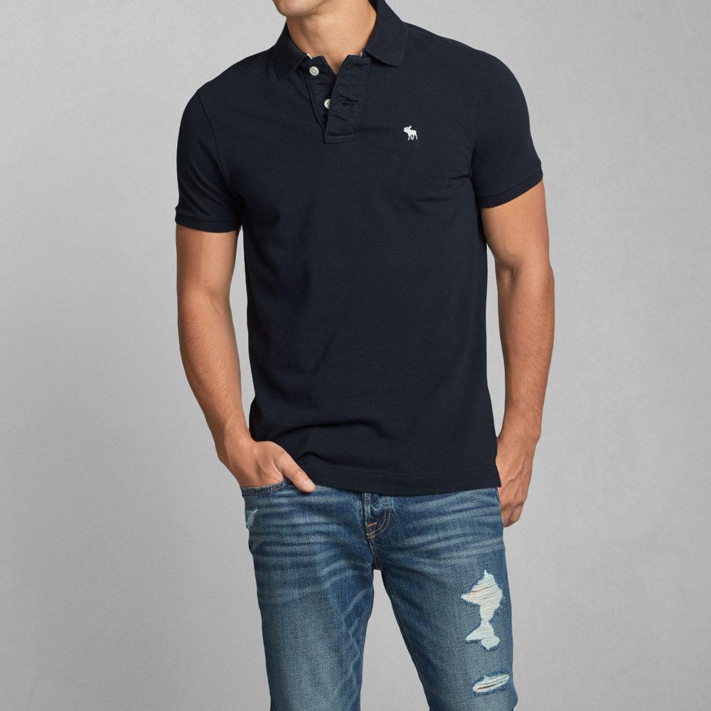 A&F 男裝 簡約刺繡麋鹿POLO短衫(深藍)