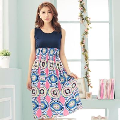 La Belleza粉底藍色大圈圈花拼接背心縮腰滑布長洋裝