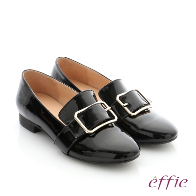 effie 個性美型 真皮方形飾釦奈米低跟鞋 黑漆皮