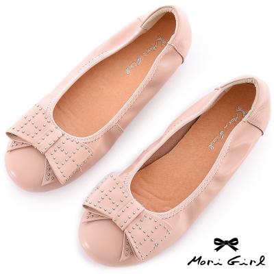 Mori girl輕甜搖滾-鉚釘裝飾牛皮娃娃鞋 粉