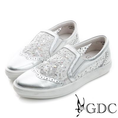 GDC-舒適水鑽蕾絲真皮平底懶人休閒鞋-銀色