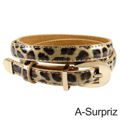 A-Surpriz 甜美氣質牛皮底細版腰帶(豹紋)