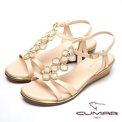 CUMAR閃亮水鑽-寶石花朵造型真皮坡跟涼鞋-裸色