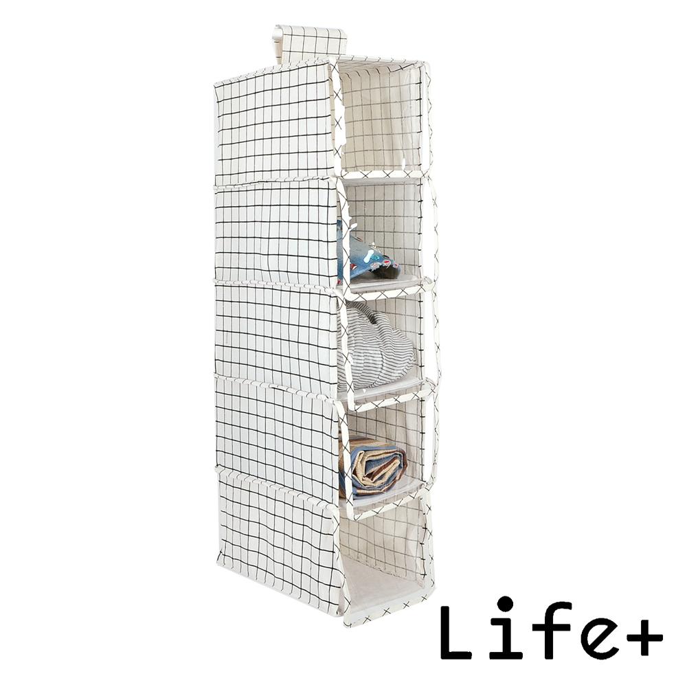 Life Plus 日雜棉麻吊掛式多層收納袋/置物袋 (小款5層)