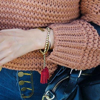 皇家遊樂園-韓系街拍風格古銅層次酒紅流蘇手鍊手環