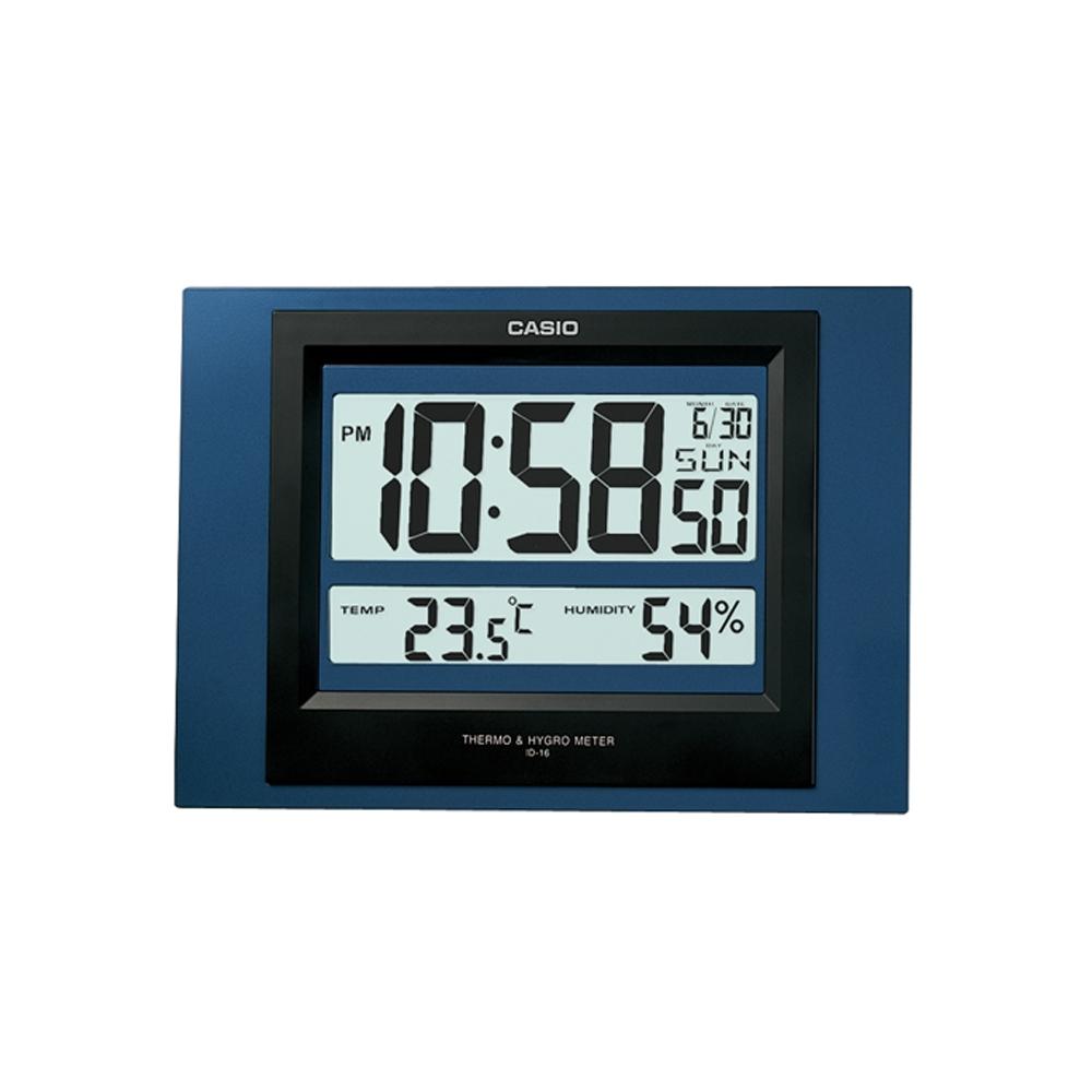CASIO 數位溫度顯示掛鐘/座鐘兩用(ID-16)-灰/藍 2色