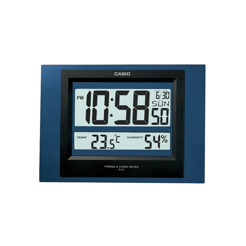 CASIO 數位溫度顯示掛鐘/座鐘兩用(ID-16S)-灰/藍 2色