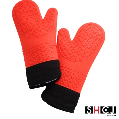 SHCJ生活采家加長型雙層防燙矽膠隔熱手套(2入組)