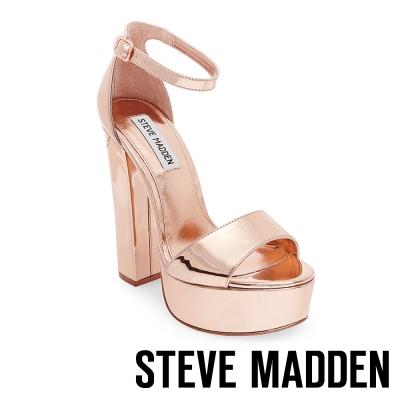 STEVE MADDEN-GONZO-ROSE GOLD 一字踝帶粗高跟涼鞋-玫瑰金
