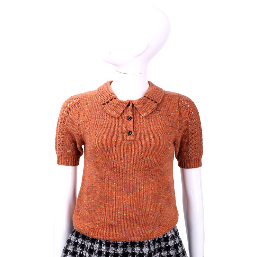 SEE BY Chloe 橘紅混色織紋短袖上衣 @ Y!購物